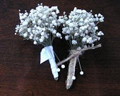 Dried Babys breath boutonniere, mans babys breath boutonnieres, babys breath buttonhole, babys breath corsage, grooms boutonniere