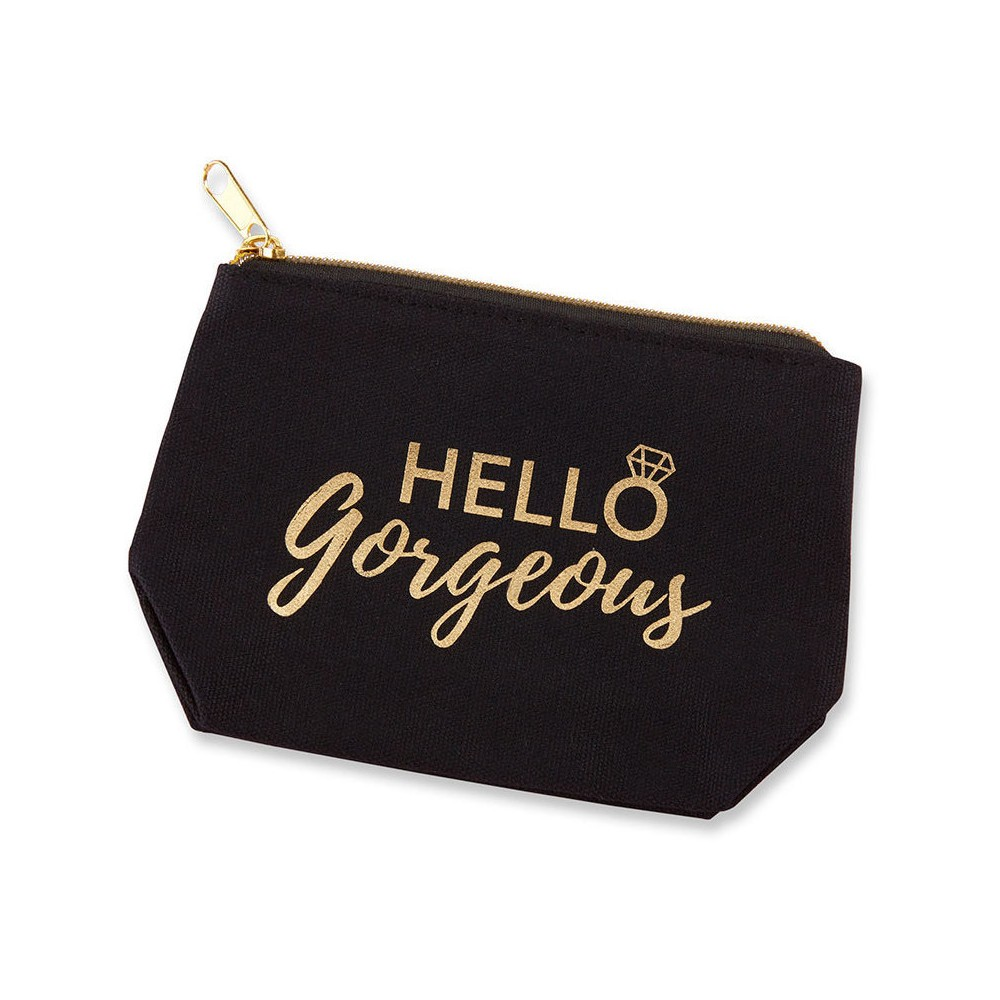 "6ct ""Hello Gorgeous"" Canvas Makeup Bag, Women's, Beige"