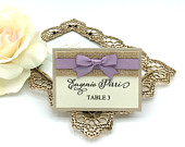 Set of 20 Rustic Place cards, Kraft and Purple place cards, Elegant escorts cards. Rustic Seating place cards. Vintage Purple Wedding