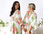 Bridesmaid Robes Bridesmaid Gifts Floral Robes Wedding Robes Bride Robe Bridesmaid Floral Robe Bridal Party Robe (WILDFLOWER )