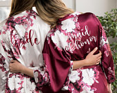 SALE! Floral Bridesmaid Robes Bridesmaid Gifts Bridal Robe Bride Robe Satin Robe Wedding Robe Bridal Party Gift