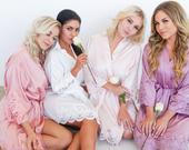 Bridesmaid Robes Bridal Robes Wedding RobeBridesmaid Gifts Robe Set of 56789 Lace Robe Wedding Robes JOSIE Satin Lace Robe