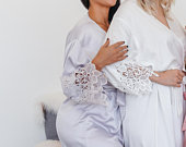 Bridesmaid Robes Bridal Robes Wedding RobeBridesmaid Gifts Robe Set of 56789 Lace Robe Wedding Robes EMILY Satin Lace Robe