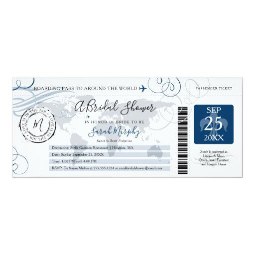 Blue Around the World Bridal Shower Boarding Pass Invitation