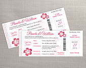 DIY Printable Wedding Invitation Card Template Editable MS Word file 3.25 x 8 Instant Download Hawaii Boarding Pass Dark Coral Pink