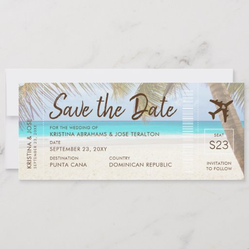 Sandy Beach Boarding Pass Ticket Save Date Card