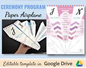 Wedding paper airplane ceremony programs save the date invitations instant download digital editable Templates 2in1