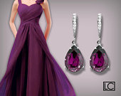 Amethyst Crystal Earrings, Swarovski Amethyst Rhinestone Teardrop Earrings, Purple Wedding Bridesmaids Gift, Amethyst Jewelry, Prom Earrings