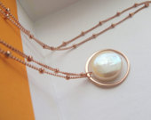 Mother of the bride gift from daughter, rose gold eternity pearl necklace, thank you gift for mother of the bride, wedding day jewelry, mom
