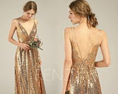 Bridesmaid Dress Gold Sequin Dress Lace Boho Wedding Dress V Neck Backless Wedding Gown (HQ580)