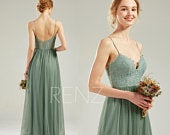 Boho Wedding Dress Green Bohemian Bridesmaid Dress Lace Long Prom Dress with Spaghetti Straps (HS812)
