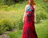 In stock and available Red Silk Nicole wedding dress boho chic bridal gown mother of the bride beach wedding dresses tie dye maxi gown