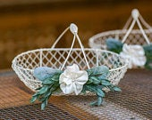 2 Flower Girl Baskets Ivory Metal Wedding Basket Modern Flower Girl Greenery Wedding Decor 2 Matching Flower Girl Baskets