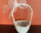 Flower Girl Basket, White Wicker Basket, Rustic Wedding Basket, Wedding Accessory, Basket with a Bow, Girls Basket, READY TO SHIP