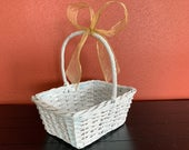 Flower Girl Basket, White Rustic Wicker Basket with a Gold Bow, Wedding Accessory, Wedding Decoration, Girls Keepsake Basket, READY TO SHIP