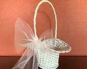 Rustic Flower Girl Basket, Basket with a Bow, White Basket, Wicker Basket, Wedding Accessory, Girls Basket, READY TO SHIP