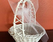 Flower Girl Basket, Wedding Accessory, Wedding Basket with a Bow, White Rustic Basket, Girls Basket, Girls Keepsake Basket, READY TO SHIP