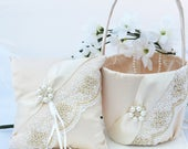 Champagne Ring Bearer Pillow, Flower Girl Basket, Pillow Basket Set, Wedding Basket, Wedding Pillow, Flower Girl Basket Set