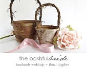 Two sizes, bohemian wedding, rustic flower girl basket, bohemian wedding decor, flower girl basket birch, farmhouse chic, easter basket