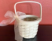 Flower Girl Basket, Cream Rustic Wicker Basket with a Cream Bow, Wedding Accessory, Wedding Decoration, Girls Wicker Basket, READY TO SHIP