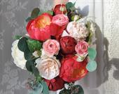 Peony Wedding Bouquet, Wedding Flowers, Bridal Flowers, Coral Flowers, Bridal Bouquet, Coral Bouquet, Boho, Silk Flowers, Boho Bouquet.