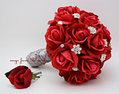 Red Roses Rhinestones Bridal or Bridesmaid Bouquet Real Touch Roses add a Groom or Groomsman Boutonniere Red Wedding Bouquet Boutonniere