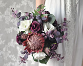 Protea Wedding Bouquet, Wedding Flowers, Purple Wedding, Wedding, Bridal Flowers, Eucalyptus, Roses,Ranunculus, Silk Flower Wedding Bouquet.