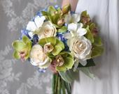 Orchid Wedding Bouquet, Wedding Flowers, Bridal Flowers, Green Flowers, Bridal Bouquet, Orchid Bouquet, Boho, Silk Flowers, Boho Bouquet.