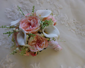 Lily of the valley, pink garden rose and white real touch calla lily bouquet, Bouquet and boutonniere, wedding, prom, homecoming