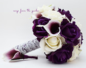Purple White Roses Picasso Calla Lilies Bridal or Bridesmaid Bouquet add a Groom or Groomsman Boutonniere Purple White Wedding Flowers
