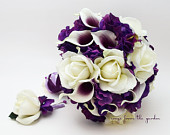 Bridal or Bridesmaid Bouquet Add a Groom or Groomsman Boutonniere Purple Plum White Wedding Flower Bouquet Choose Your Ribbon Color