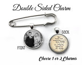 Personalized Groom Lapel Photo Pin 1 or 2 Double Sided Picture Charms Wedding Boutonniere Photo Pendant Memorial Pin In Memory Pendant