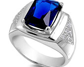 Mens Sterling Silver Ring, Personalize Custom Engrave 925 Sterling Silver Ring with Simulated Blue Sapphire Cubic Zirconia, FREE ENGRAVING