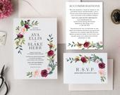Fall Wedding Invitation Template Set Printable Burgundy Blush Pink Floral 3pcs Suite Instant Download Digital Editable Invites Ava Templett