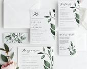 Greenery Wedding Invitation Template Download, Boho Greenery Editable, Invitation Printable, Invitation Download, Instant Download,