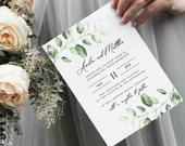 Wedding Invitation Template, Printable Invitation Card, DIY Wedding Invite, Greenery Leaves Collection