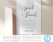 Modern Wedding Invitation Template download Printable Wedding invite Script Editable invitation Simple Wedding invite DIY invite Templett 16