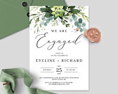 Boho Succulent Engagement Party Invitation, Printable Template, Editable Wedding Announcement, We Are Engaged Invite INSTANT DOWNLOAD SGLS87