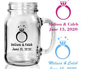 Set of 24 Personalized Monogrammed Mini Mason Jars Engagement Party rings in heart Custom Barn Wedding Party Favors Rustic Mason Jars D83