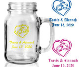 Set of 24 Personalized Monogrammed Mini Mason Jars Wedding Rings in heart Custom Barn Wedding Party Favors Rustic Mason Jars Reception D54