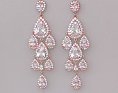 Rose Gold Chandelier Teardrop Earrings, Rose Gold Crystal Bridal Wedding Earrings, TAMARA