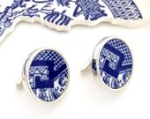 Blue Willow Cufflinks Broken China Jewelry Unique Anniversary Gift Sterling Silver Cuff Links