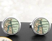 Map Cufflinks Jacksonville FL Handmade Cuff Links City Antique Maps Florida Groomsmen Wedding Party Fathers Dads Men