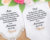 Wedding Gifts for Parents, Embroidered Handkerchiefs, Personalized Handkerchief, Wedding Handkerchief, Father of the bride gift for Dad Mom