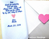 Embroidered wedding handkerchiefs custom heirloom weddings Dad Heart BRIDE personalized hankie gift embroidery father daddy