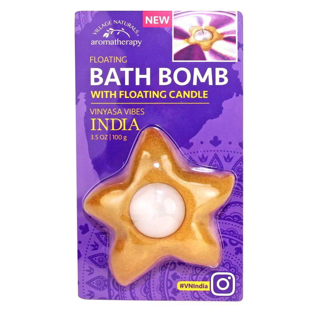 Village Naturals India Relaxing Star Floating Bath Bomb with Candle - 3.5oz