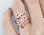 Double Name Ring with Birthstone Minimalist Ring Personalized Gift for Her Laser Cut Names Bridesmaids Gifts Mother Gift RM43F61