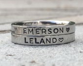 Stacking Name Ring, Personalized Stackable Ring for Mom, Custom Hand Stamped Silver Stainless Steel Stacking Ring