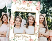 Bridal Shower Photo Prop Frame, Printable Bridal Shower Photo Prop Template, Photo Prop Poster Sign, 24x36, Blush Pink Floral, VWC95