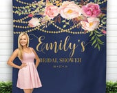 Navy and Blush Bridal Shower Backdrop, Bohemian Wedding Backdrop, Future Mrs. Backdrop, Birthday Party Backdrop, Bridal Shower Photo props